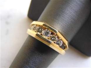 Mens Vintage Estate 14K Yellow Gold Diamond Ring