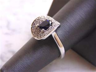 Womens Sterling Silver Ring w/ CZ & Blue Sapphire Stone