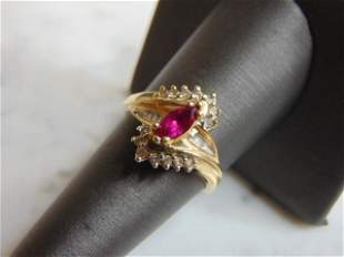 Womens 10K Yellow Gold Ring with Diamonds and Garnet
