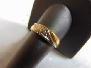 Mens Vintage Estate 10k Gold Diamond Ring