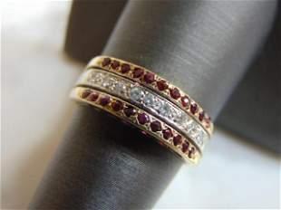 Womens 14K Yellow Gold Ring w/ Diamonds & Rodolite Chip