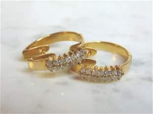 Womens Vintage 14K Yellow Gold Earrings W/ Diamonds