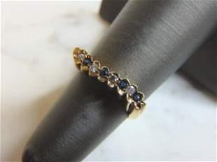 14K Yellow Gold Ring w/ Diamonds & Sapphire Stones