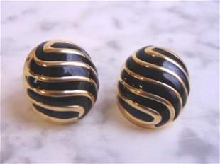 Womens Vintage 14k Yellow Gold Art Deco Earrings