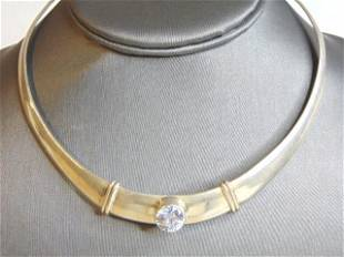 Womens Vintage Sterling Silver CZ Stone Choker Necklace