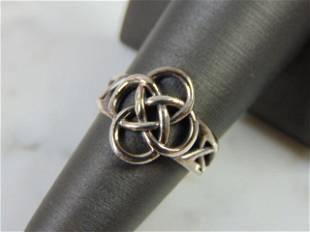 Womens Vintage Estate Sterling Silver Celtic Knot Ring