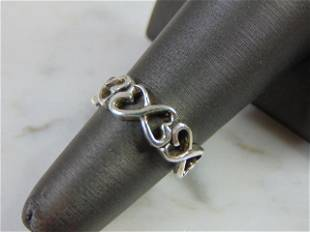 Womens Vintage Estate Sterling Silver Heart Ring
