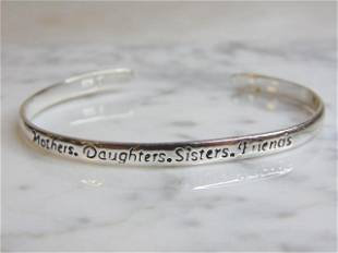 "Womens Vintage Sterling Silver ""Mothers"" Cuff Bracelet"