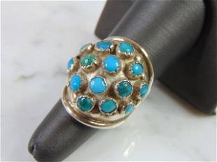 Womens Vintage Estate Sterling Silver Turquoise Ring