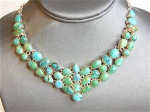 Womens Vintage Sterling Silver Turquoise Necklace
