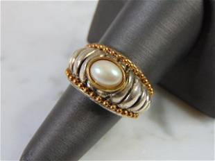 Womens Vintage Estate Sterling Silver Pearl Ring