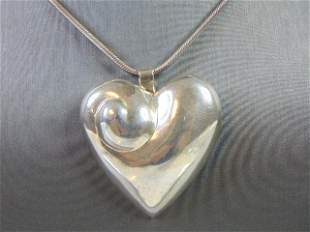 Womens Sterling Silver Necklace w/ Heart Pendant