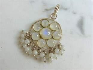 Womens Vintage Sterling Silver Quartz Pendant