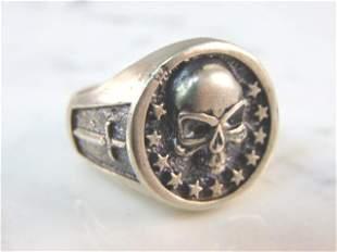 Mens Vintage Estate Sterling Silver Gothic Skull Ring