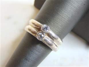 Womens Vintage Estate Sterling Silver CZ Ring