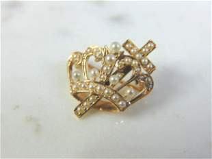 Womens Vintage 14K Gold Religious Seed Pearl Brooch