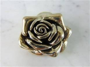 Womens Vintage Estate .925 Sterling Silver Rose Brooch