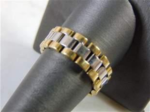 Mens Vintage Estate 18k Gold Link Ring