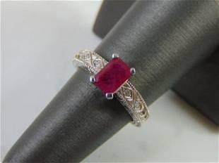 Womens Vintage 14k White Gold Garnet & Diamond Ring