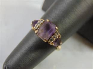 Womens 14K Yellow Gold Amethyst Diamond Ring