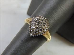 Womens 10K Yellow Gold Diamond Cluster Ring