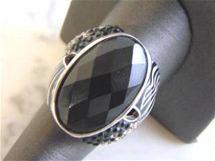 Womens Vintage Estate .925 Sterling Silver Onyx Ring