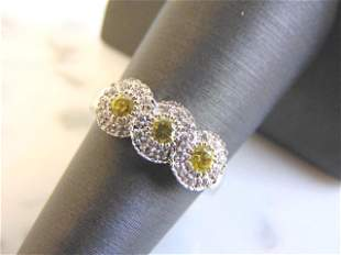 Womens Sterling Silver Ring w/ Canary Colored Stones