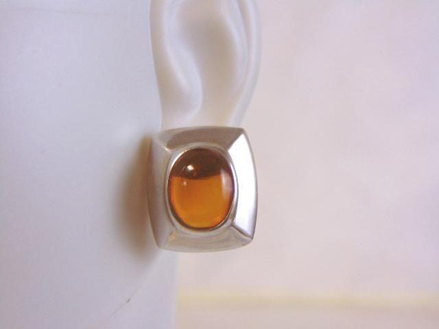 Womens Vintage Sterling Silver w/ Amber Stone Earrings