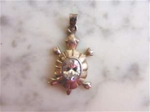 Womens Vintage Estate Sterling Silver Turtle Cz Pendant
