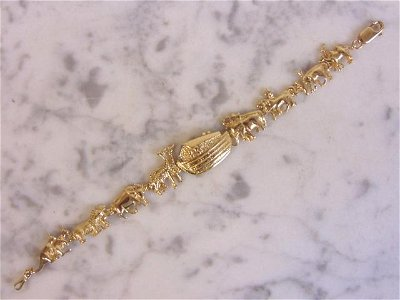 Vintage Biblical 14K Yellow Gold Noah's Ark Bracelet