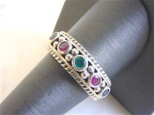 Womens Sterling Silver Ring w/ Multi-Colored Stones