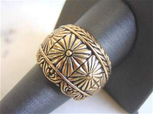 Womens Vintage Estate Sterling Silver Flower Ring