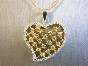 Gold Tone Sterling Silver Necklace w/ Heart Pendant