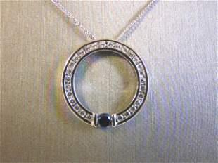 Vintage Sterling Silver Necklace w/ CZ Stone Pendant