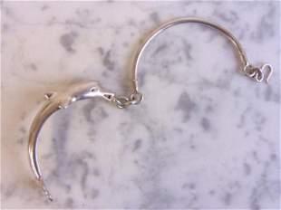 Womens Vintage Sterling Silver Dolphin Cuff Bracelet