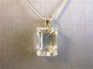 Womens Sterling Silver Necklace W/ CZ Crystal Pendant
