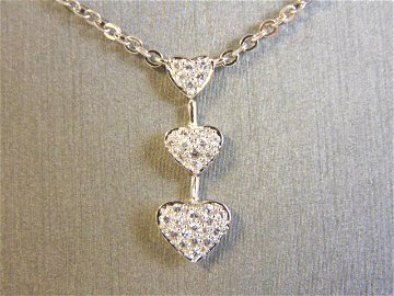 Womens Vintage Hearts CZ Stone Pendant W/ Necklace