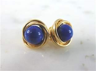 Pr Womens Vintage14k Yellow Gold & Blue Lapis Earrings