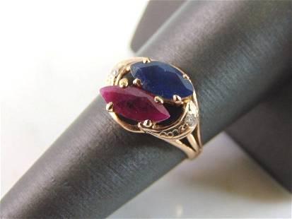 Womens 18K Rose Gold Diamond Ruby Sapphire Ring