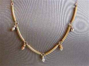 Womens Vintage 14K White Yellow & Rose Gold Necklace