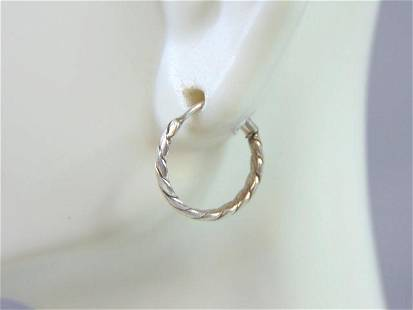 Womens Vintage Estate Sterling Silver Hoop Earrings