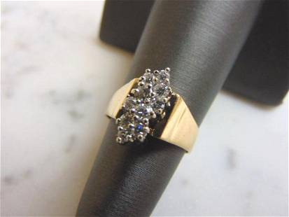 Womens Vintage 14k Gold Exquisite Diamond Cluster Ring