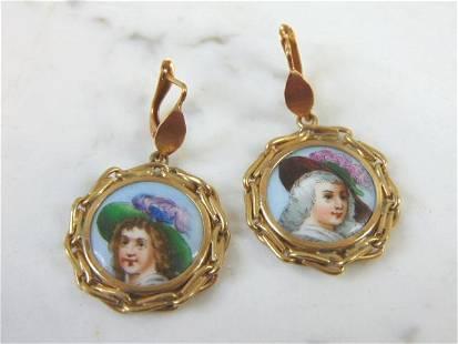 Vintage Estate 18K Gold Hand Painted Porcelain Earrings