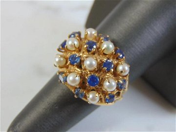 Womens Vintage Estate 14K Gold Sapphire Ring