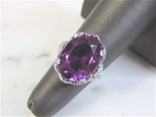 Womens Vintage 10k White Gold Ring w/ Amethyst Stone