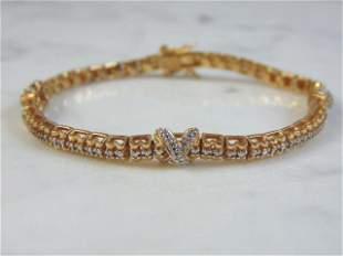 Womens Vintage Sterling Silver Gold Tone Bracelet
