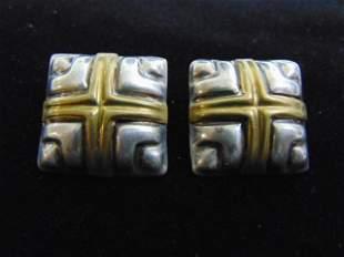 Womens Vintage Sterling Silver w/ Gold Tone Earrings