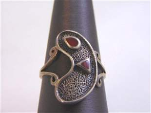Womens Sterling Silver Modern Abstract Coral Ring
