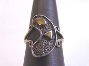 Womens Vintage Sterling Silver Modern Abstract Ring
