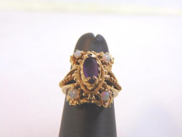 Womens Vintage 14K Yellow Gold Ring w/ Amethyst & Opal